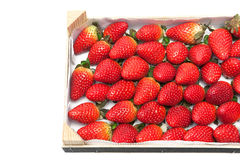 Ripe strawberries in a wooden box on a white background Royalty Free Stock Image