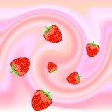 Ripe strawberries in the yoghurt swirl. Abstract  background with strawberries and yoghurt swirl Royalty Free Stock Photography