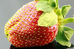 Ripe strawberry. Macro view of ripe red strawberry with green stalk Royalty Free Stock Photos