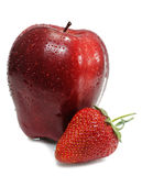Ripe strawberry with apple Royalty Free Stock Image