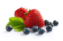 Ripe strawberry and blueberry Stock Photo