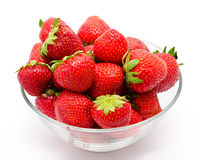 Ripe strawberry in the bowl  on white Stock Photography