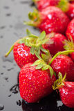 Ripe strawberry with drops of water Royalty Free Stock Photo