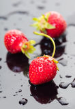 Ripe strawberry with drops of water Stock Images