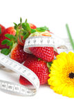 ripe strawberry and flower Royalty Free Stock Images