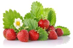 Ripe strawberry with green leaves Royalty Free Stock Photography