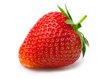 Ripe strawberry with leaves isolated on a white Stock Photos