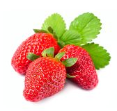 Ripe strawberry with leaves Royalty Free Stock Photos
