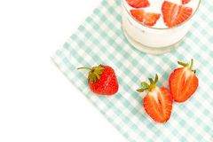 Ripe strawberry and milk Royalty Free Stock Photo