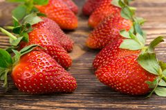 Ripe strawberry series expansion. On the table Stock Image