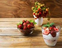 Ripe strawberry and summer layered cream cheese dessert Royalty Free Stock Image