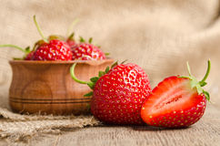 Ripe Strawberry in a wooden Bowl Royalty Free Stock Image