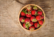 Ripe Strawberry in a wooden Bowl Royalty Free Stock Images