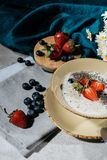 Ripe summer berries and chia seeds pudding. In bowl stock photography