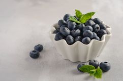 Ripe sweet blueberries in white bowl on a gray concrete background. Ripe sweet blueberries in white bowl on a gray concrete background, selective focus, copy Stock Images