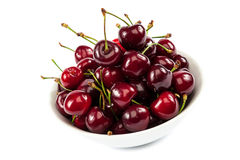 Ripe sweet cherries in a bowl. Stock Images