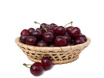 Ripe sweet cherry in a basket Stock Photos