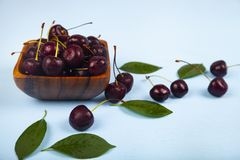 Ripe sweet cherry in a square bow stock photo