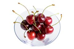 Ripe sweet cherry on white background royalty free stock photography
