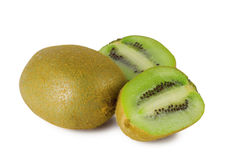 Ripe sweet juicy kiwi fruit. On white background Stock Photo