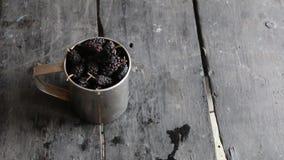 Ripe sweet mulberry in the metal mug. stock video