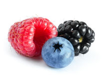 Ripe Sweet Raspberry, Blueberry and Blackberry on the White Stock Photography