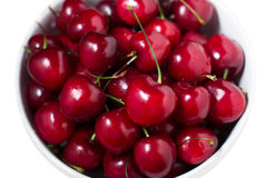 Ripe sweet red cherries in a bowl Stock Photography