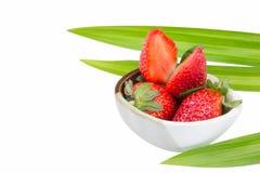 Ripe sweet strawberries in bowl Royalty Free Stock Image