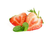 Ripe sweet strawberries and mint. On white background Stock Photography