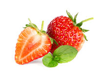 Ripe sweet strawberries and mint Stock Photography