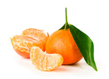 Ripe tangerine with clove Stock Photo