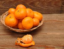 Ripe tangerine fruits in basket Stock Image