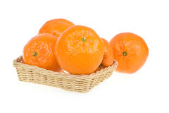Ripe Tangerine Fruits in Basket Isolated Royalty Free Stock Photography