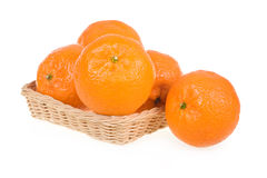 Ripe Tangerine Fruits in Basket Isolated Stock Image
