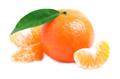 Ripe tangerine isolated. Royalty Free Stock Photo