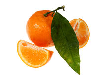 Ripe tangerine with segments Stock Photo