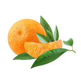 A ripe tangerine and a slice of citrus with green leaves isolated on white background.