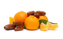 Ripe tangerines and figs  on white background Stock Photos