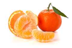 Ripe tangerines with green leaf Royalty Free Stock Image