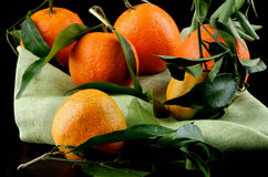 Ripe Tangerines with Leafs Royalty Free Stock Photography