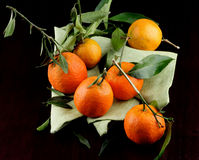 Ripe Tangerines with Leafs Royalty Free Stock Photo