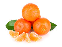 Ripe tangerines with leaves Stock Images