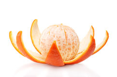 Ripe tasty mandarine with peel Stock Photos