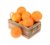 Ripe tasty tangerines in box Stock Image