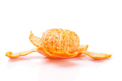 Ripe tasty tangerines with peel  on white Royalty Free Stock Images