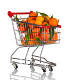 Ripe tasty tangerines in shopping cart Stock Image