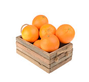 Ripe tasty tangerines in wooden box Royalty Free Stock Photography