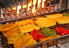 Ripe tasty yellow and red peppers grilled Stock Image