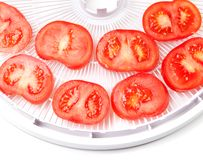 Ripe tomato on food dehydrator tray, ready to dry Stock Image