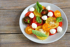 Ripe tomatoes with basil and mozzarella. Food closeup Stock Images